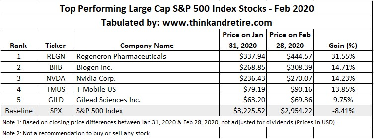 Feb 2020 Top Performing Large Cap Stocks in SPX500 Index