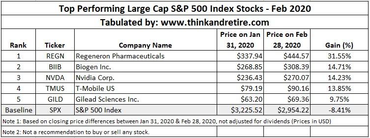Feb 2020 Top Performing Large Cap Stocks in SPX500 Index